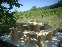 Table extérieure + bancs et tabourets (12 personnes)